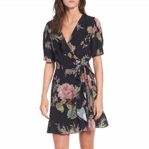 Privacy Please June Floral V-neck Wrap Mini Dress